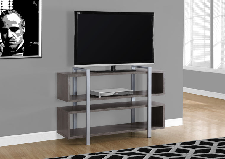 "48""L X 32""H Grey Bookcase And TV Stand by Monarch Specialties Inc. - The Office Furniture Depot"