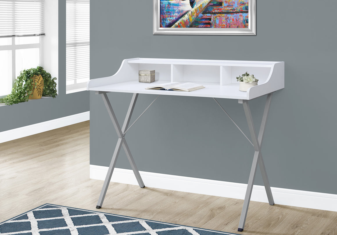 "48""L White with Silver Metal Computer Desk by Monarch Specialties Inc. - The Office Furniture Depot"