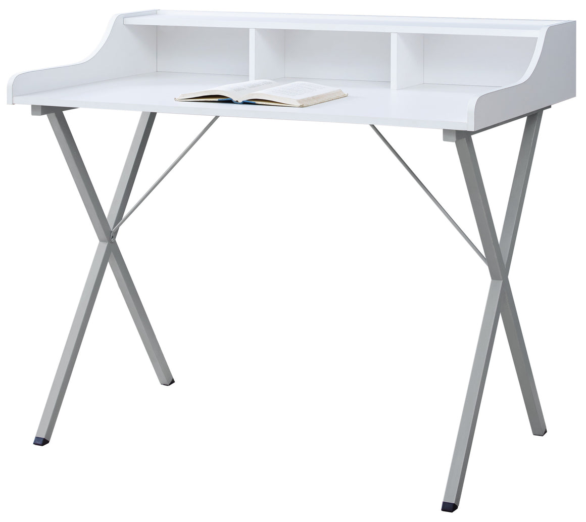 "48""L White with Silver Metal Computer Desk by Monarch Specialties Inc. - White Background - The Office Furniture Depot"