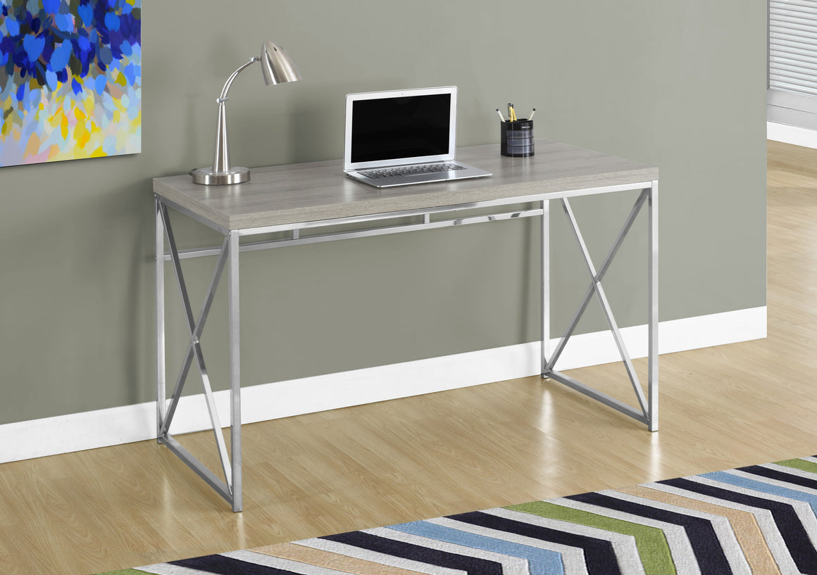 "48""L Dark Taupe with Chrome Metal Computer Desk by Monarch Specialties Inc. - The Office Furniture Depot"