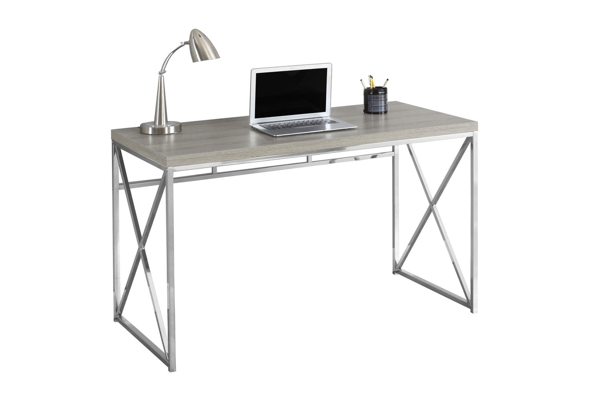 "48""L Dark Taupe with Chrome Metal Computer Desk by Monarch Specialties Inc. - White Background - The Office Furniture Depot"