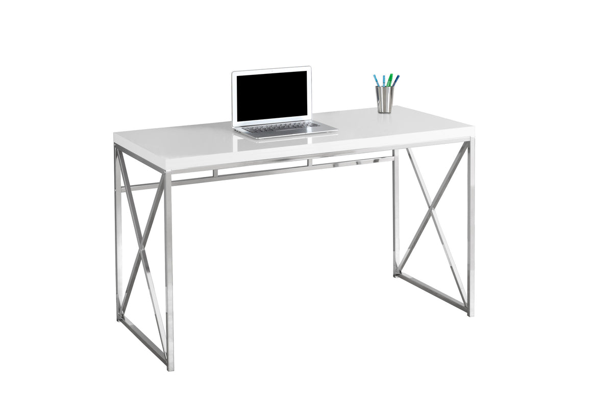 "48""L Glossy White Computer Desk with Chrome Metal by Monarch Specialties Inc. - White Background - The Office Furniture Depot"