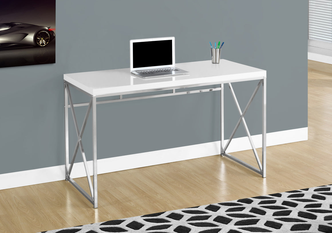 "48""L Glossy White Computer Desk with Chrome Metal by Monarch Specialties Inc. - The Office Furniture Depot"