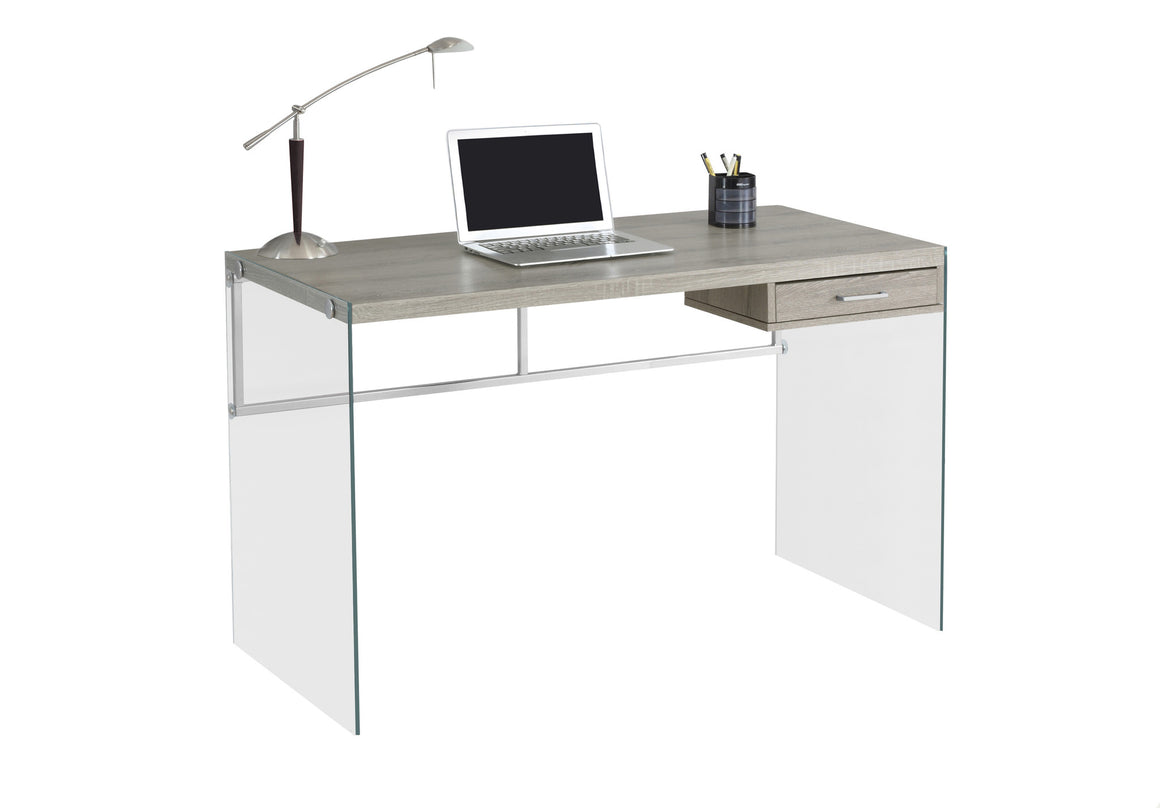 "48""L Dark Taupe Computer Desk with Tempered Glass - TheOfficeFurnitureDepot"