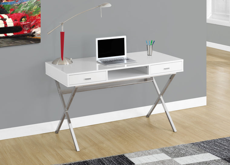 "48""L Glossy White Computer Desk with Chrome Metal / Storage Drawers by Monarch Specialties Inc. - The Office Furniture Depot"