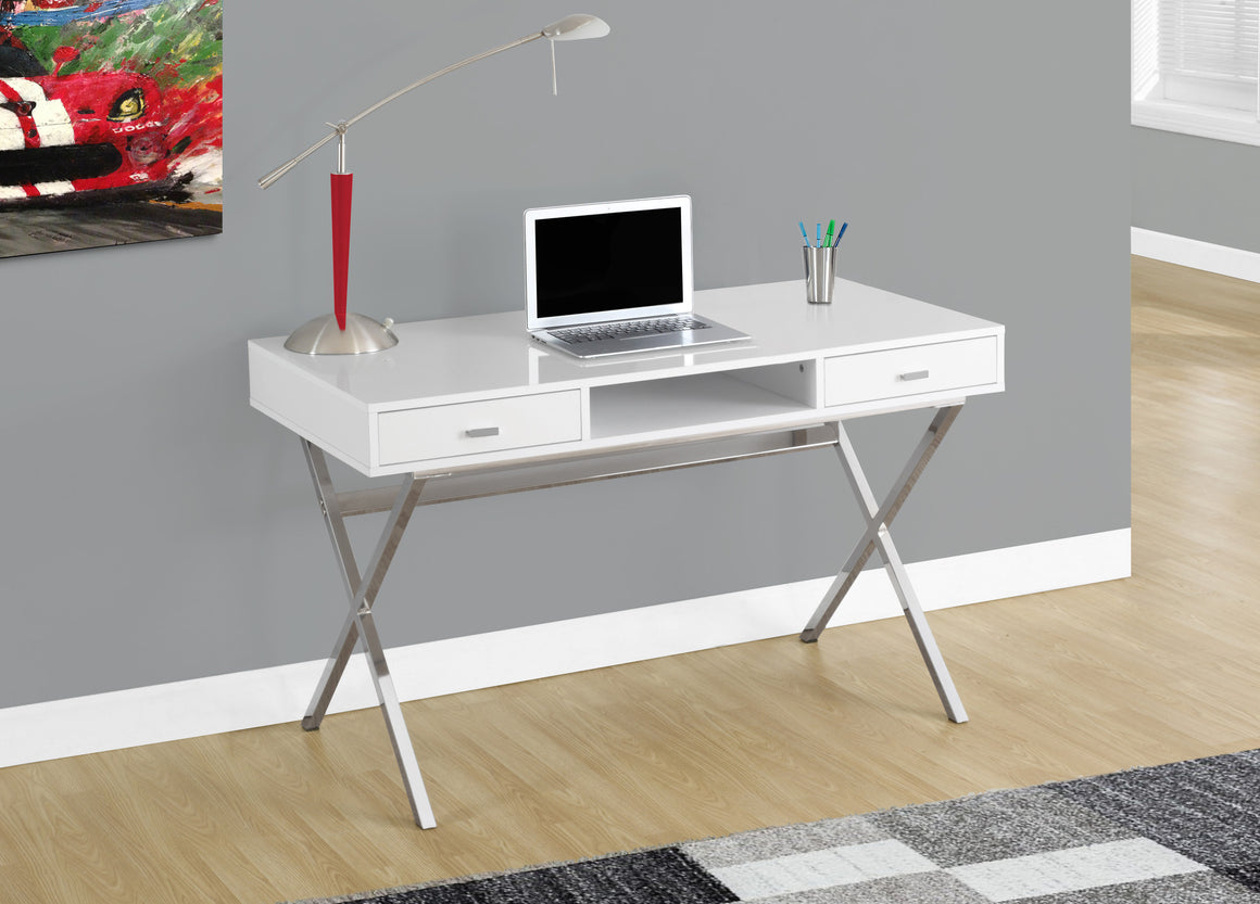 "48""L Glossy White Computer Desk with Chrome Metal / Storage Drawers - TheOfficeFurnitureDepot"