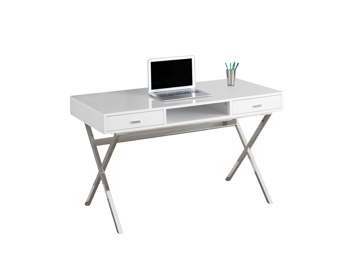 "48""L Glossy White Computer Desk with Chrome Metal / Storage Drawers by Monarch Specialties Inc. - White Background - The Office Furniture Depot"