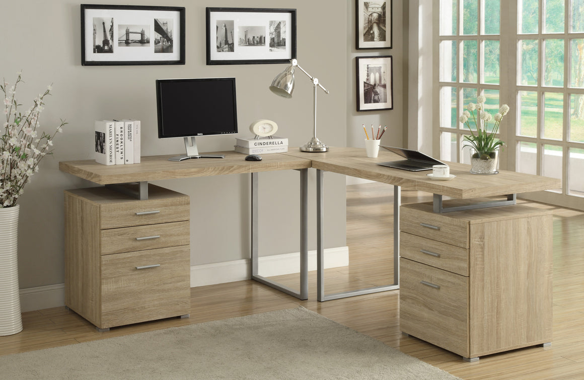 Natural Reclaimed Look L Shaped Corner Computer Desk  by Monarch Specialties Inc. - The Office Furniture Depot