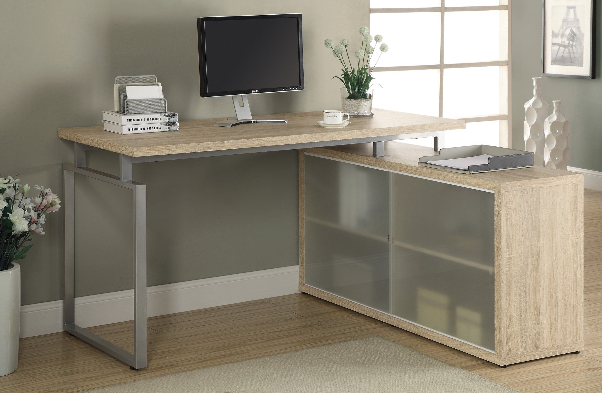 Natural Corner Computer Desk with Frosted Glass