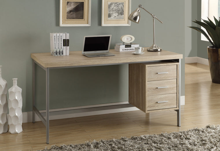 "60""L Natural Computer Desk with Silver Metal / Drawers on One Side - TheOfficeFurnitureDepot"