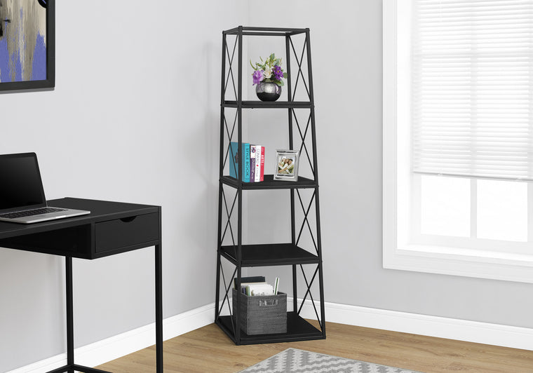 "60""H Black and Black Metal Bookcase by Monarch Specialties Inc. - The Office Furniture Depot"