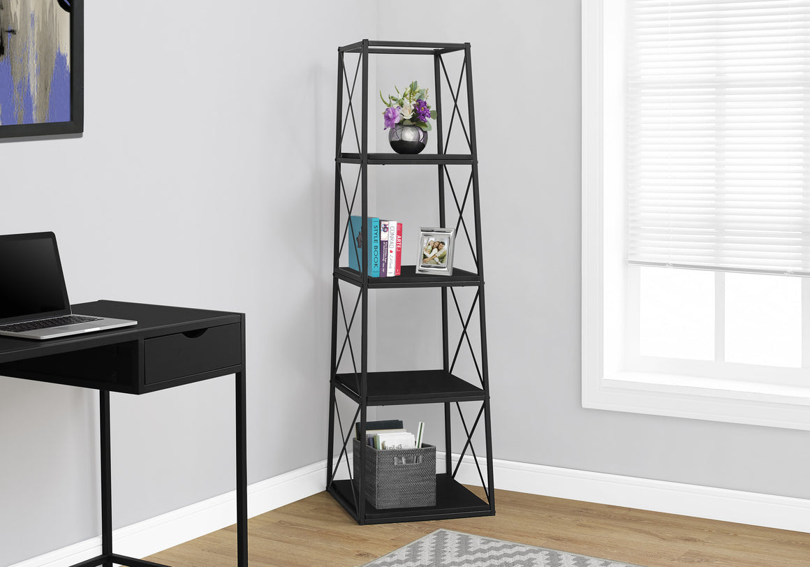 "60""H Black and Black Metal Bookcase - TheOfficeFurnitureDepot"