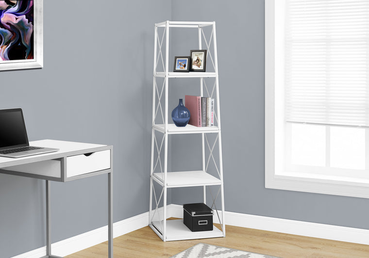 "60""H White and White Metal Bookcase by Monarch Specialties Inc. - The Office Furniture Depot"