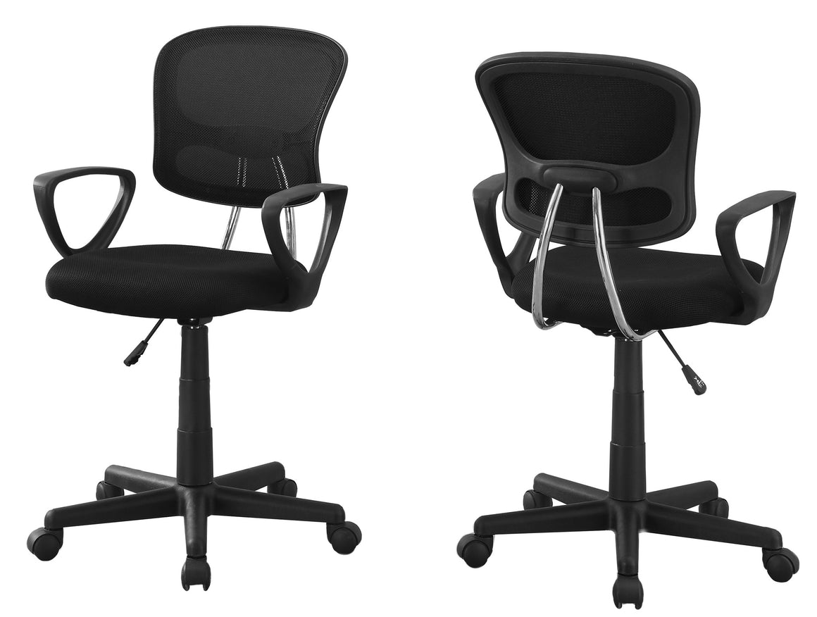 Black Mesh Juvenile Office Chair / Multi-Position by Monarch Specialties Inc. - White Background -The Office Furniture Depot
