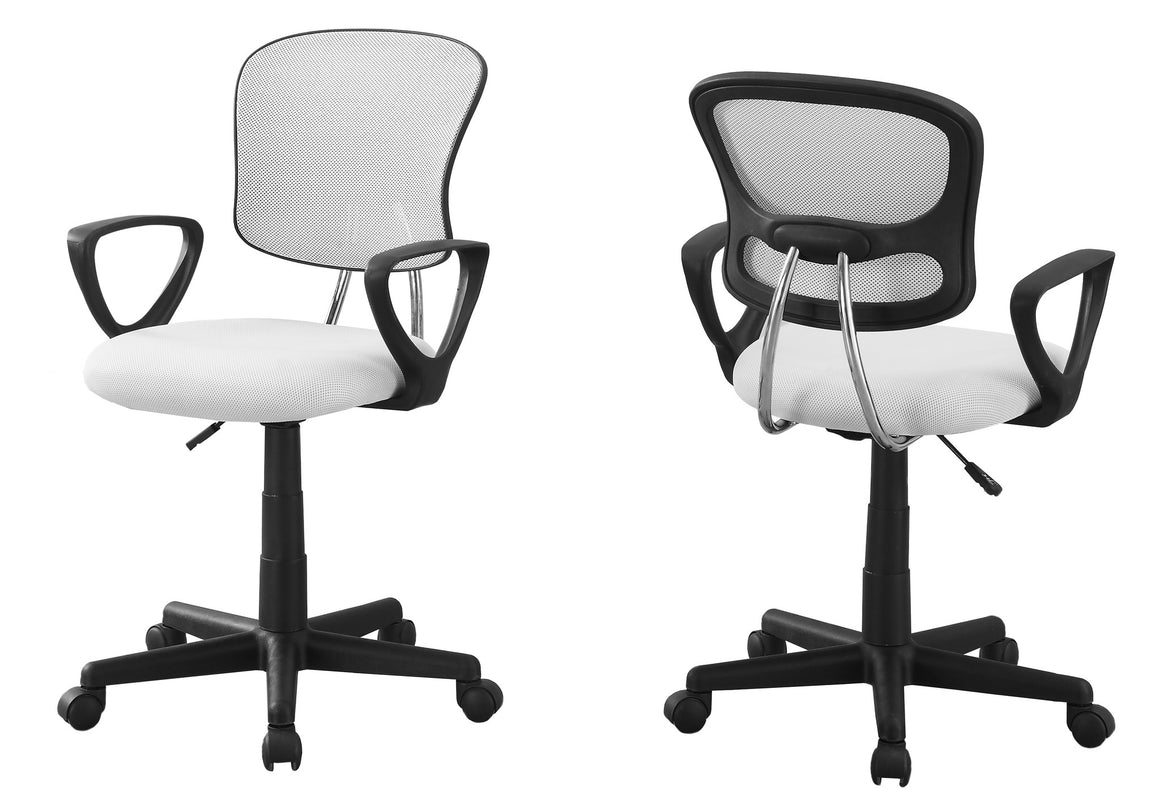 White Mesh Juvenile Office Chair / Multi-Position by Monarch Specialties Inc. - White Background -The Office Furniture Depot
