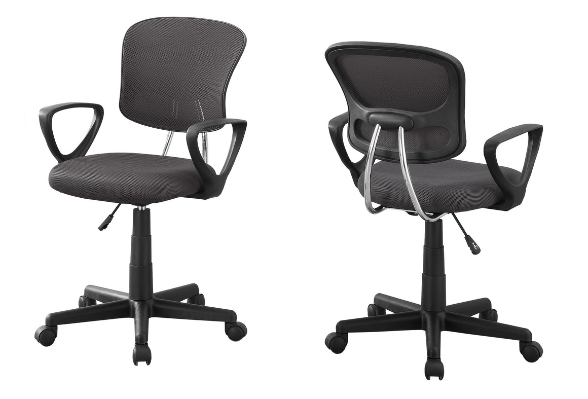 Grey Mesh Juvenile Office Chair / Multi-Position by Monarch Specialties Inc. - White Background -The Office Furniture Depot