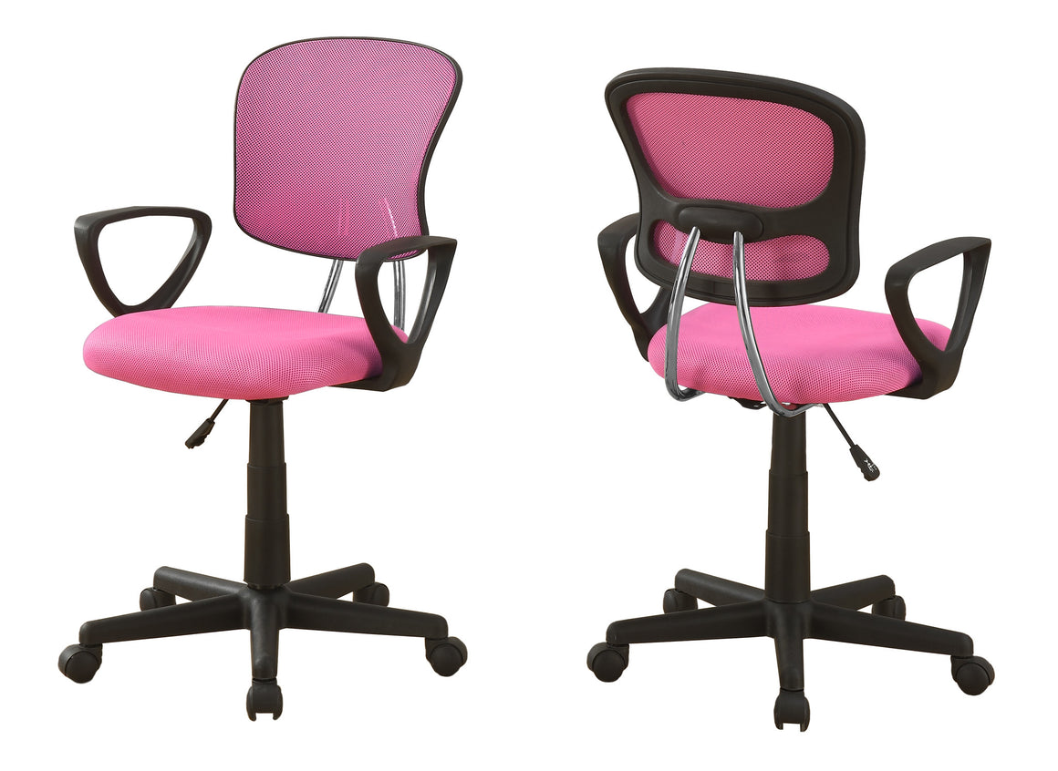 Pink Mesh Juvenile Office Chair / Multi-Position by Monarch Specialties Inc. - White Background -The Office Furniture Depot