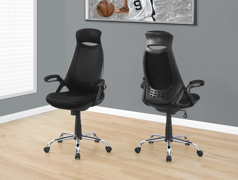 Black Mesh / Chrome High-Back Executive Office Chair by Monarch Specialties Inc. - The Office Furniture Depot