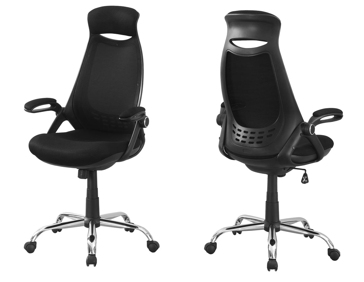 Black Mesh / Chrome High-Back Executive Office Chair by Monarch Specialties Inc. - White Background - The Office Furniture Depot