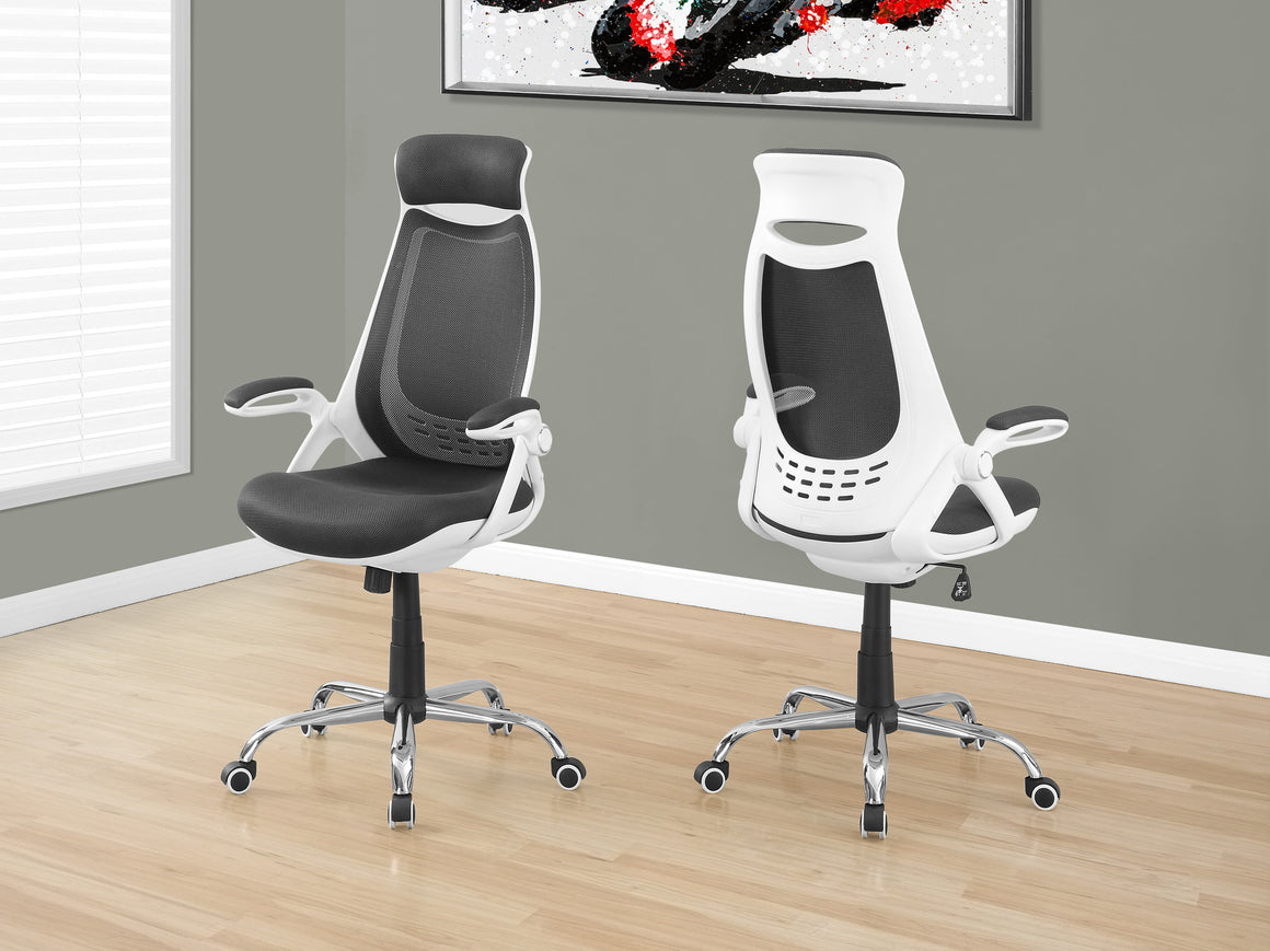 White / Grey Mesh / Chrome High-Back Executive Office Chair by Monarch Specialties Inc. - The Office Furniture Depot