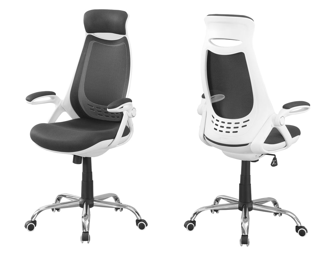 White / Grey Mesh / Chrome High-Back Executive Office Chair by Monarch Specialties Inc. - White Background - The Office Furniture Depot
