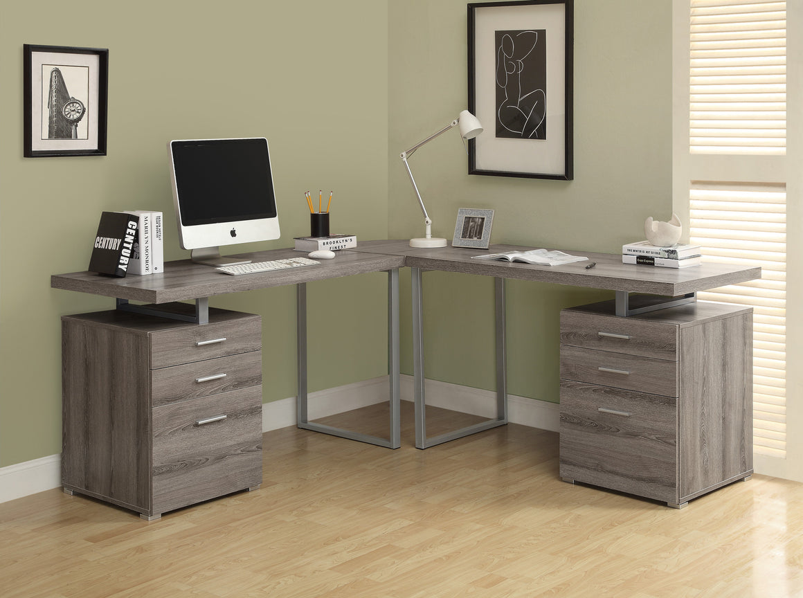 Dark Taupe Reclaimed Look L Shaped Corner Computer Desk  by Monarch Specialties Inc. - The Office Furniture Depot