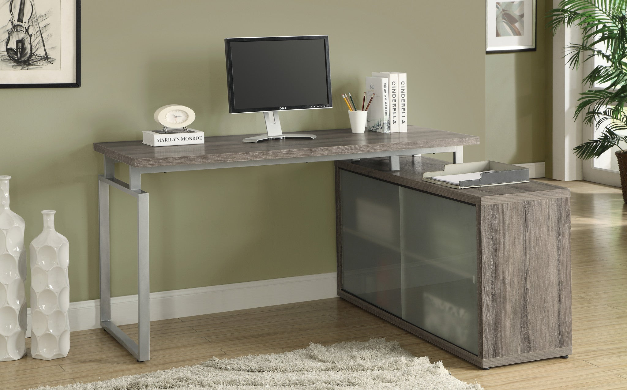 Dark Taupe Corner Computer Desk with Frosted Glass