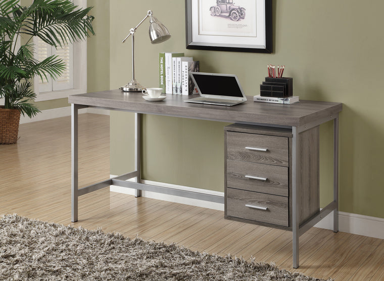 "60""L Dark Taupe Computer Desk with Silver Metal / Drawers on One Side - TheOfficeFurnitureDepot"