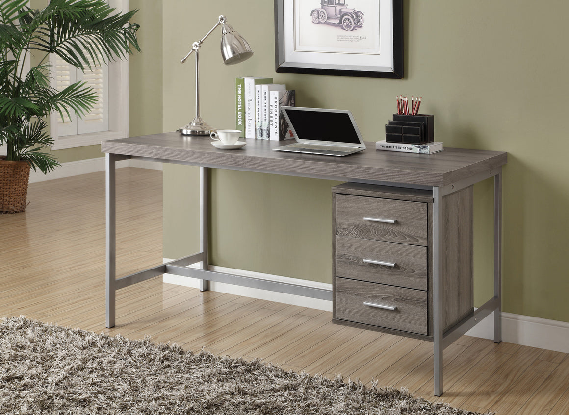 "60""L Dark Taupe Computer Desk with Silver Metal / Drawers on One Side by Monarch Specialties Inc. - The Office Furniture Depot"