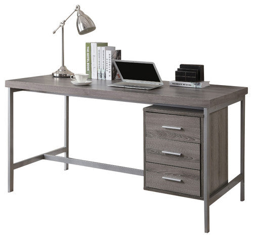 "60""L Dark Taupe Computer Desk with Silver Metal / Drawers on One Side by Monarch Specialties Inc. - White Background - The Office Furniture Depot"