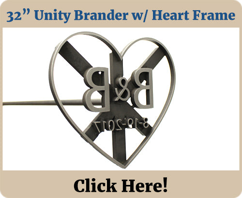 32 in Custom Wedding Unity Brander w Heart Frame
