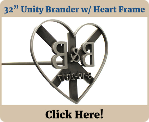 Custom Wedding Unity Branding Iron with Heart Frame