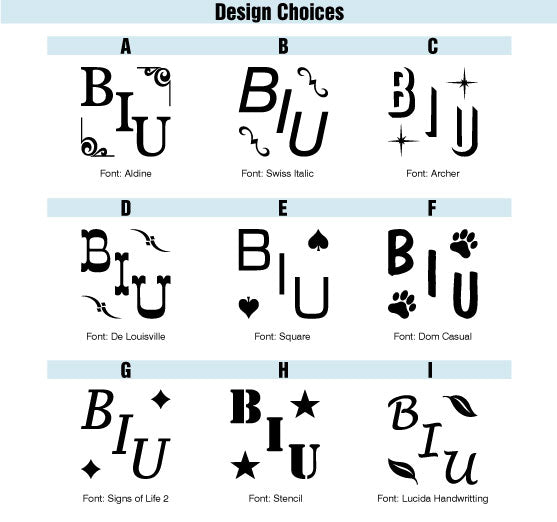 Ready-2-Brand Square Monogram Iron Design Choices
