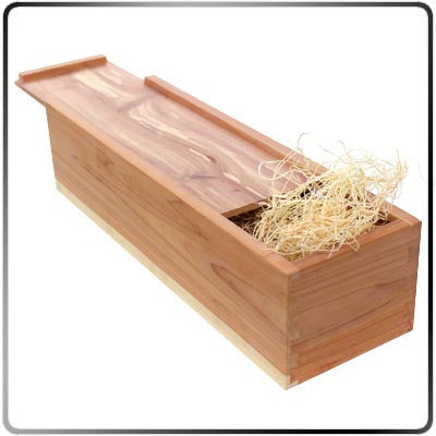Cedar Branding Iron Storage Box - Standard Open with Wood Excelsior