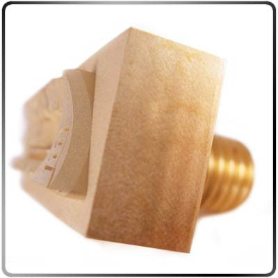Custom Concave Brass Branding Head - Side View