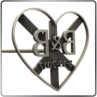 Custom Wedding Unity Brander with Heart Frame - 36in Handle
