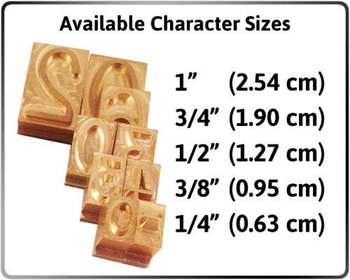Interchangeable Brass Characters Size Comparison Chart