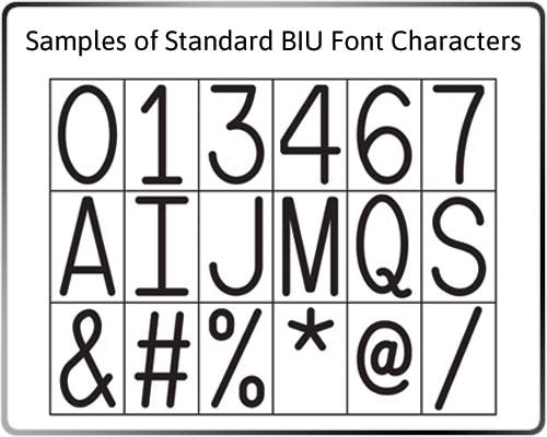 Sample of Standard BIU Font Characters