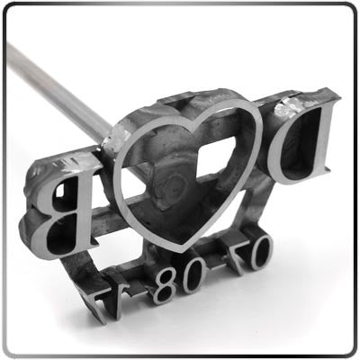 Custom Wedding Unity Brander - 14 In. Branding Iron Closeup