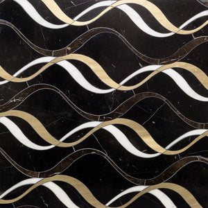 Careen Series- Nero Marquina, Saint Laurent, Brass and Asian Statuary