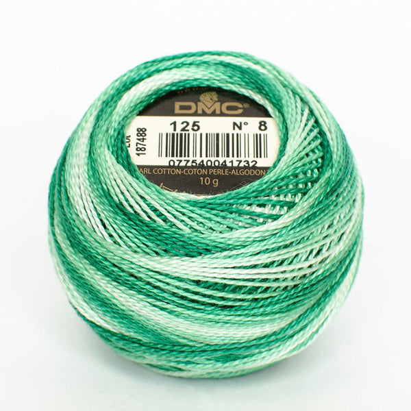 Perle No.8  125 Variegated Seafoam Green