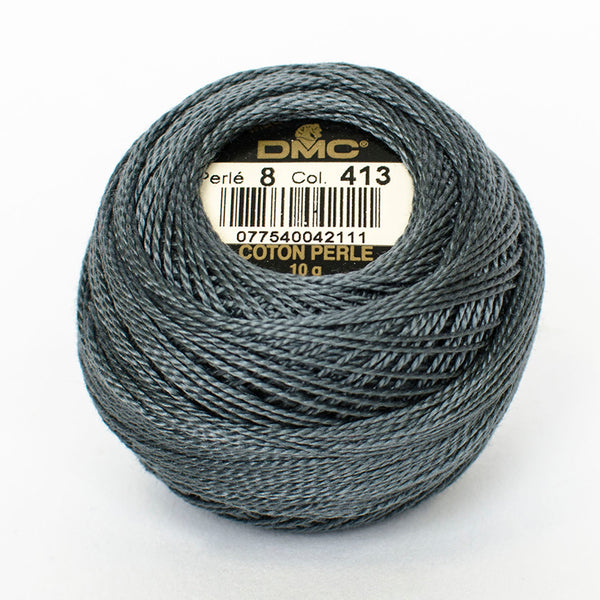 Perle No.8  413 Dark Pewter Grey
