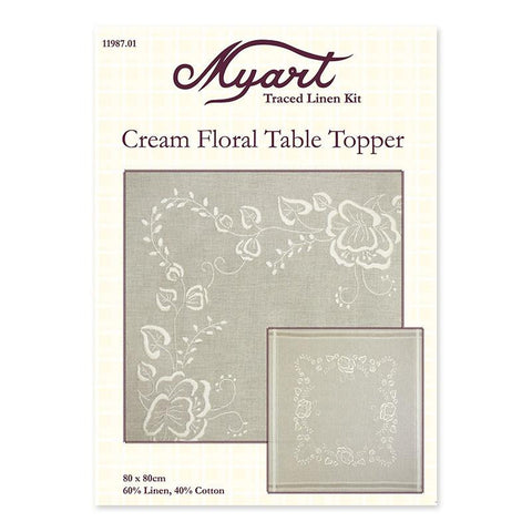 Cream Floral Tabble Topper 11987.01