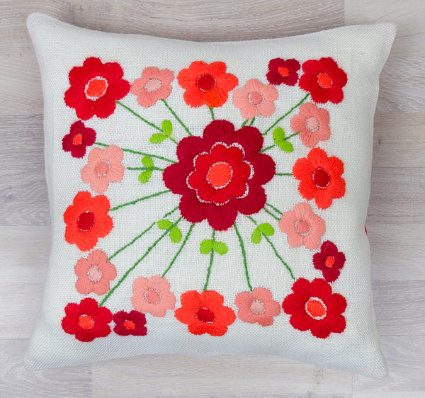 14-467 Flower Pillow Cover Red Back