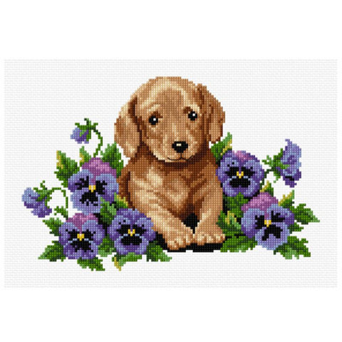 Puppy With Flowers  577118