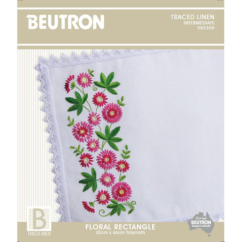 585309 Floral Rectangle Traycloth
