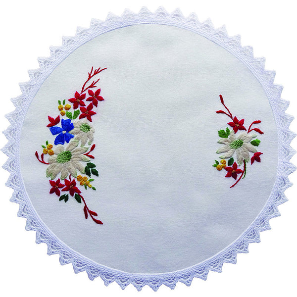 FLANNEL FLOWERS EMBROIDERY DOILY