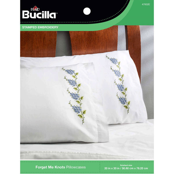 947932 Bucilla Stamped Pillowcase Pair - Forget Me Knots