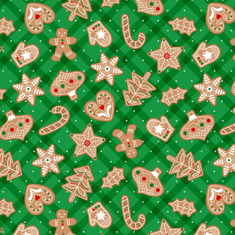 VINTAGE HOLIDAYS GINGERBREAD TREATS CM9634-GREEN