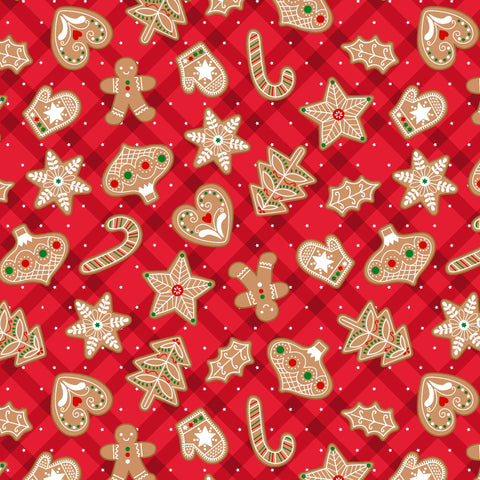 VINTAGE HOLIDAYS GINGERBREAD TREATS CM9634-RED